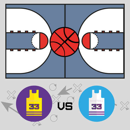 versus: Basketball objects. Basketball Match Team versus Team Shirt Logo.