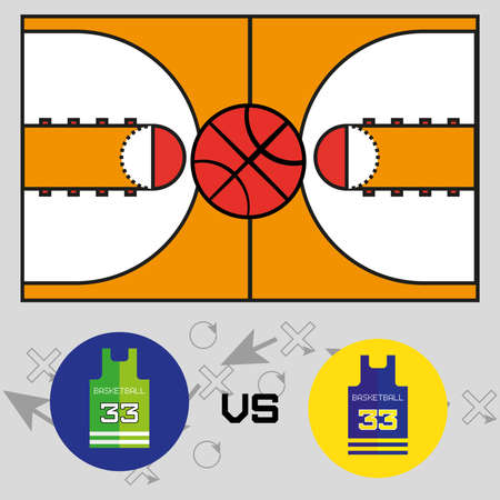 strategic plan: Basketball objects. Basketball Match Team versus Team Shirt Logo. Basketball Ball on Play Court. Strategic Game Plan. Players Game Positioning Arrows Scheme. Digital background  Vector Illustration.