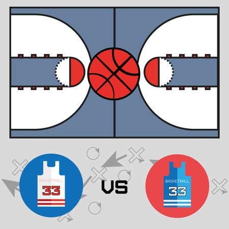 long jump: Basketball objects. Basketball Match Team versus Team Shirt Logo.