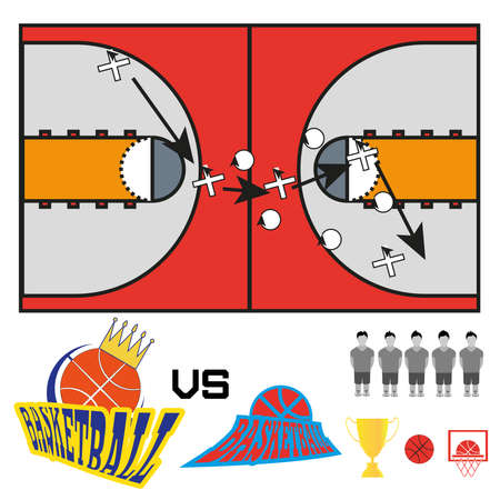 strategic plan: Basketball objects. Basketball Match Teams Logos. Basketball Play Court with Strategic Game Plan. Players Game Positioning Arrows Scheme. Digital background  Vector Illustration. Illustration