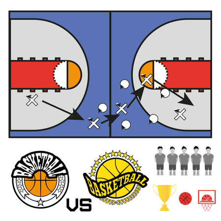 strategic position: Basketball objects. Basketball Match Teams Logos. Basketball Play Court with Strategic Game Plan. Players Game Positioning Arrows Scheme. Digital background  Vector Illustration. Illustration