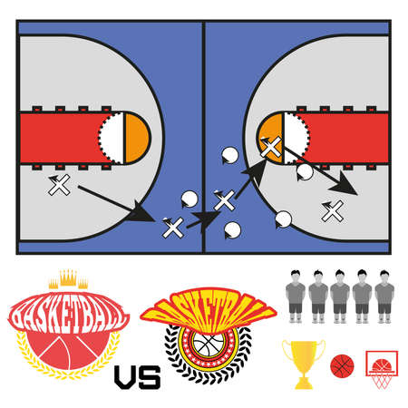 strategic plan: Basketball objects. Basketball Match Teams Logos. Basketball Play Court with Strategic Game Plan. Players Game Positioning Arrows Scheme. Digital background Vector Illustration.