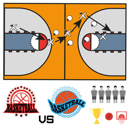 strategic position: Basketball objects. Basketball Match Teams Logos.