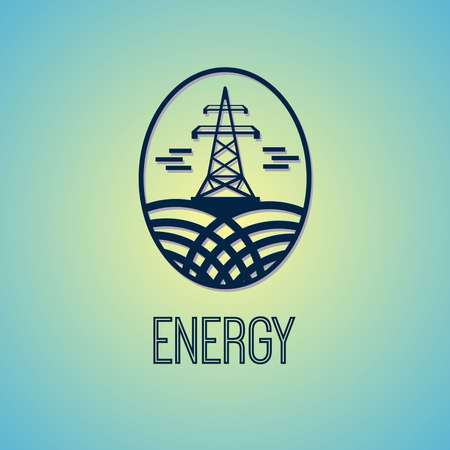 powerline: Electricity Tower Vector Sign. Energy Saving Green Movement Symbol. Electric Power Industry digital background vector illustration.