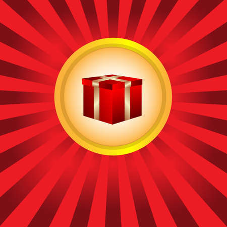 red gift box: Present Box. Red Gift Box with Golden Ribbon.