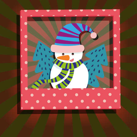 colorful frame: Snowman and Christmas Tree in Red Polka Dots Frame.