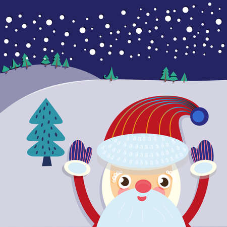 tree service pictures: Christmas Eve Landscape with Santa Claus and Xmas Tree Greeting Card. Illustration