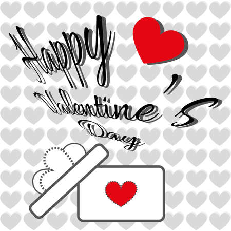 fancy box: Happy Valentines Day Greeting Card. Fancy text with a heart gift box with ribbon and bow. Digital background vector illustration.