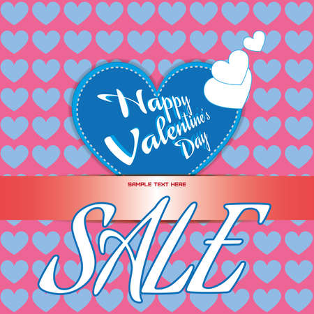 space rubbish: Happy Valentines Day Sale Banner. Big Blue Heart and White Congratulation Text on Pink Backdrop. White Sale Message. Invitation Text Blank space. Digital background vector discount banner.