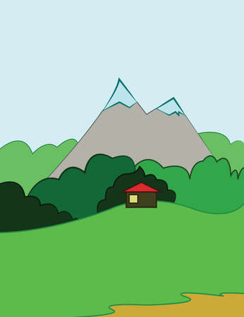 mountain view: Mountain Valley and Small House with Red Roof. Countryside view. Digital background vector illustration. Illustration