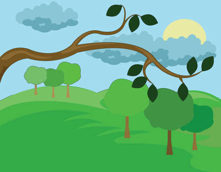 kid drawing: Branch with Leaves Close Up. Hills Valley Landscape view. Forest with Meadow, Trees and Bushes. Sun in Clouds. Kids Book vector illustration. Digital background.