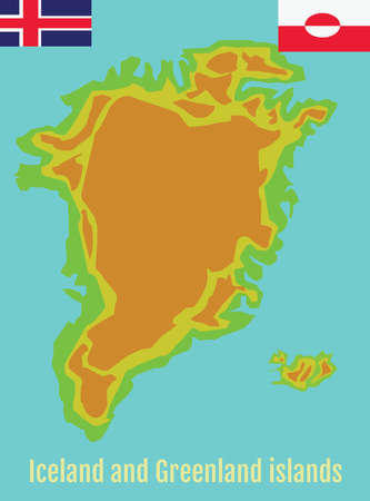 geography background: Map of Greenland and Iceland. School Geography Map. Greenland and Iceland Flags. Tourist Agency Promotional Banner. Digital background vector illustration. Illustration