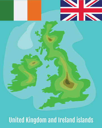 irish sea: Map of United Kingdom and Ireland Islands. School Geography Map. Great Britain Flag. Ireland Flag. Tourist Agency Promotional Banner. Digital background vector illustration.
