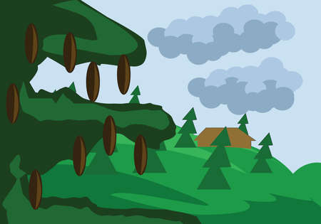 pine tree branch: Pine Tree Branch with Cones Close Up. Hills Valley with Forest House. Landscape view. Forest with Meadow and Fir Trees. Kids Book vector illustration. Digital background.