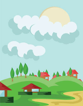 cloudy: Village of Houses with Red Roof. Countryside View. Sun in Cloudy Sky and Green Hills Landscape. Digital background vector illustration. Illustration