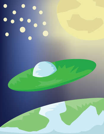flying saucer: Planets and Stars in Space. Flying Saucer between Earth and Moon. Space Nebula Digital background. Education Book vector illustration.