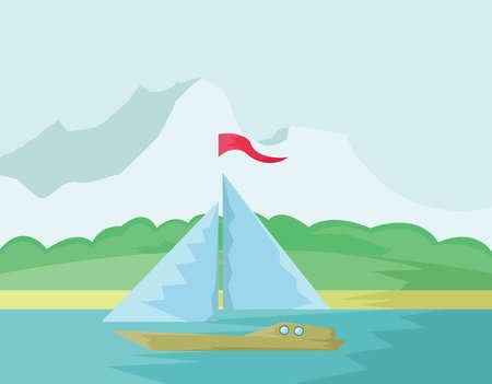 loch: Yacht Summer Tourism. Seaside View illustration. Sea Paradise. Summer Holidays on Sand Beach. Digital background vector illustration.