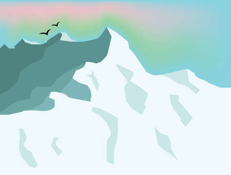 mountaintop: Winter Holidays Tourism. Mountain Valley and Northern Lights Sky. Winter Mountain Landscape Digital background vector illustration. Illustration