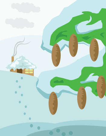 snowdrifts: Mountain Valley and Small House with Chimney Smoke. Pine Tree with Cones and Snow. Snowdrifts with Footprints. Winter Landscape Tourism. Digital background vector illustration.