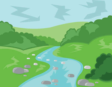 stream  wave: Hills Valley and Streams. Landscape view. Forest with Meadow, Trees, Bushes and River. Fast Stream with Rocks. Kids Book vector illustration. Digital background.
