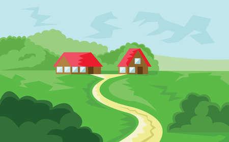 Dos casas con techo rojo en el bosque. Vista al campo. Cielo nublado y paisaje de Green Hills. Ilustración de vector de fondo digital.