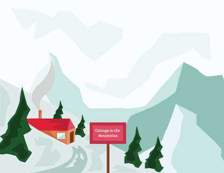 mountaintop: Winter Holidays. Mountain Valley and Tourist Cottage with Red Roof and Chimney. Mountains and Fir Trees. Winter Mountain Landscape Digital background vector illustration.