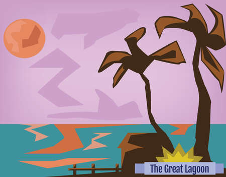 lagoon: Summer Holidays Poster. Sunset on Sea. Beach with Palm Trees. The Great Lagoon Banner. Digital background vector illustration.