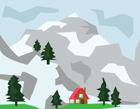 mountaintop: Mountains Valley in Winter and Small House with Red Roof. Mountains and Fir Trees. Winter Mountain Landscape Digital background vector illustration.