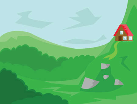small roof: Small House with Red Roof in the Woods. Countryside Top View. Cloudy Sky and Green Hills with Rocks. Kids Book vector illustration. Digital background.