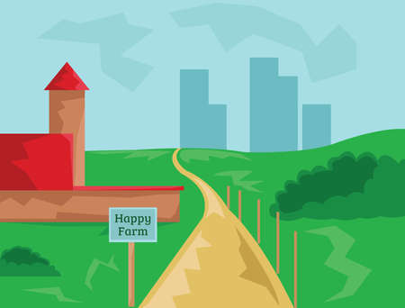 green hills: Countryside View. Barn with Wooden Sign Happy Farm. Cloudy Sky and Green Hills with Road to City Buildings Silhouettes. Landscape. Kids Book vector illustration. Digital background.