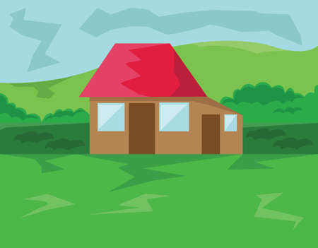 small roof: Small House with Red Roof in the Forest. Countryside View. Cloudy Sky and Green Hills Landscape. Kids Book vector illustration. Digital background.