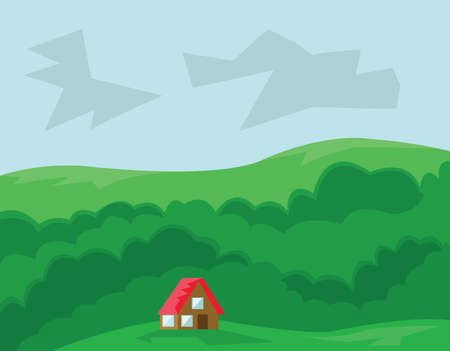 roof top: Small House with Red Roof in the Wood. Countryside Top View. Cloudy Sky and Green Hills. Kids Book vector illustration. Digital background. Illustration