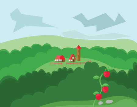 roof top: Two Houses and Tower with Red Roof. Countryside Top View. Cloudy Sky and Green Hills with Tomatoes. Digital background vector illustration. Illustration