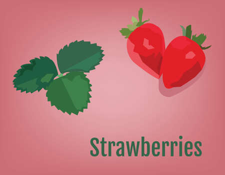 Strawberry with Leaves vector illustration. Smoothie Ingredients. Raw Vegan Recepie Ingredients. Digital background. Illustration