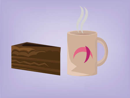 brownie: Pastry icons. Hot Coffee with Steam and Brownie Slice Vector Signs. Morning Beverage with Chocolate Dessert, Piece of Cake. Digital background vector illustration.