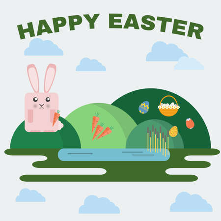 easter basket: Happy Easter Greeting Card. Easter Bunny, Easter Basket with Flowers and Eggs. Landscape, Green Hills and Lake with Reeds. Digital background vector illustration.
