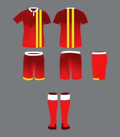 sportswear: Soccer Team Sportswear Red Uniform. Digital background vector illustration. Stylish design for t-shirts, shorts and socks.