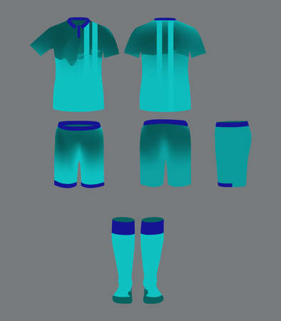 tee shirt template: Soccer Team Sportswear Turquoise Uniform. Digital background vector illustration. Stylish design for t-shirts, shorts and socks.
