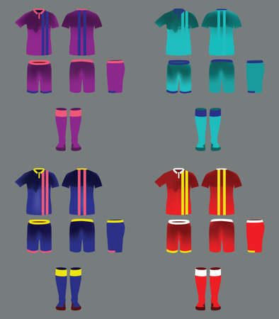 tee shirt template: Soccer Team Sportswear Uniform Set. Digital background vector illustration. Stylish design for t-shirts, shorts and socks. Illustration