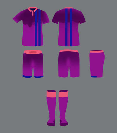 tee shirt template: Soccer Team Sportswear Purple Uniform. Digital background vector illustration. Stylish design for t-shirts, shorts and socks. Illustration