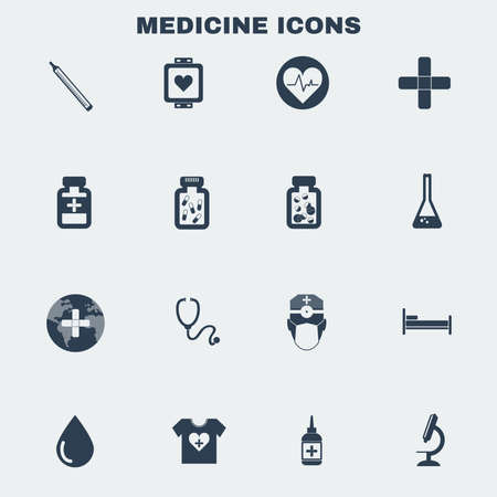 a solution tube: Healthcare. Black and White Medical Vector Icons Set. Digital background vector illustration.