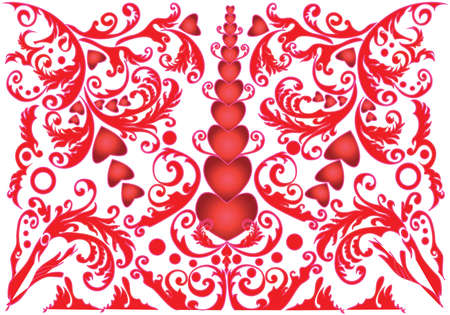 textile industry: Big Red Hearts and Swirls. Abstract pattern for interior design and textile industry. Happy Valentines Day Digital background vector illustration.