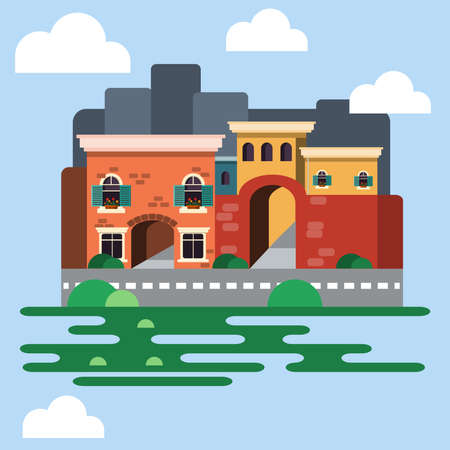 Two Floor Building in Old Town. Old Building with Arched Windows, Shutters and Flowers in pot on Windowsills. City view in Daytime. Digital background vector illustration.