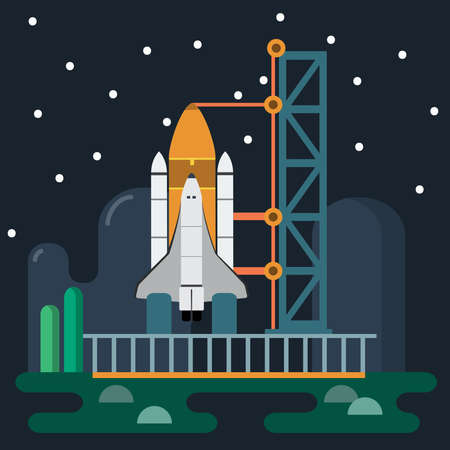 Rocket before Launch. Galaxy Exploration. Space Rocket and Launch Tower on Earth. Vector digital illustration. Digital background vector illustration.