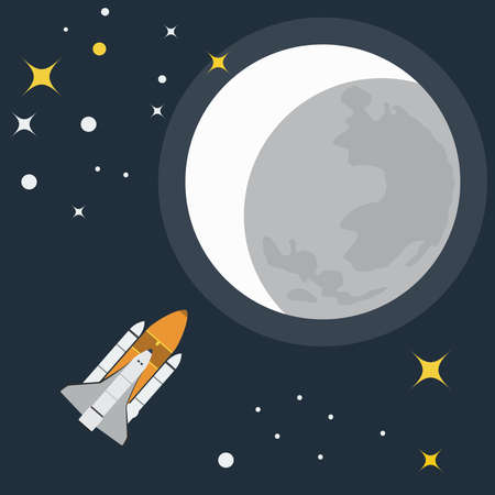 interplanetary: Space Rocket Flight to Moon. Galaxy Exploration. Rocket in Space. Moon with Stars. Vector digital illustration.