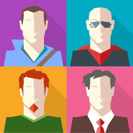 hombre calvo: Los hombres en ropa conjunto del icono del vector formal y casual. hombre morena en capucha. Hombre calvo en gafas de sol. el hombre con la barba pelirroja. El hombre en traje y corbata roja. ilustraci�n vectorial de fondo digital.