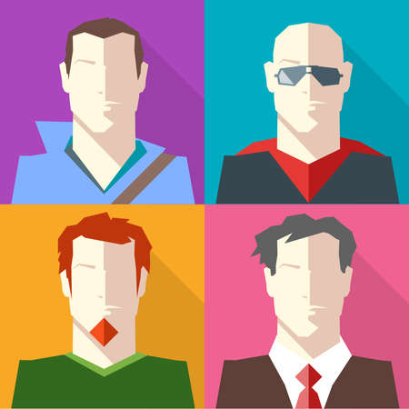 v neck: Men in Formal and Casual Clothes Vector icon set. Brunette man in Hoodie. Bald Man in Sunglasses. Redhead man with Beard. Man in Suit and Red Tie. Digital background vector illustration.