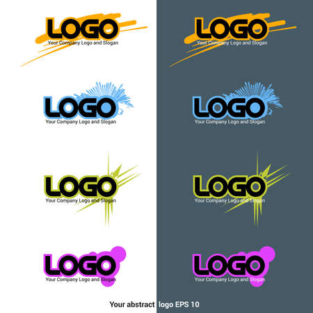 digital design: Sign Templates.  with Spikes,  with Blots,  with ink Strokes. Business Card. Digital background vector illustration.