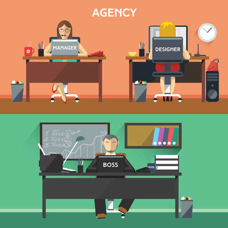 office machine: Design Agency Workers. Boss, Manager and Designer in Office. Desktop Computers and Office Machine. Digital background vector illustration.