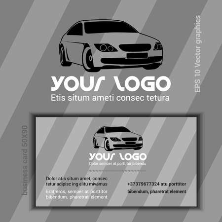 phone number: Car Company Logotype Template. Business Card. Modern Car Black Silhouette on Gray Backdrop with Stripes. Blank Space for Your Company Slogan, Phone Number. Digital background vector illustration.